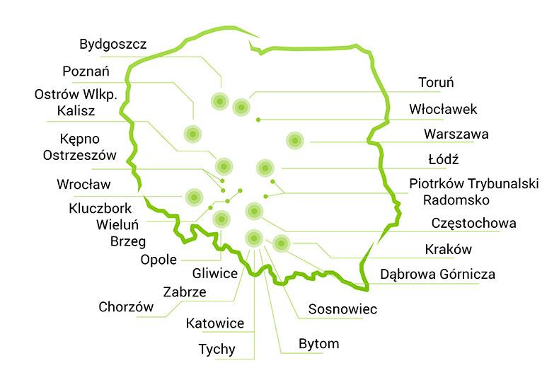 Mapa dostaw w Polsce